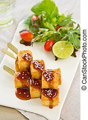 Barbecue Tofu with teriyaki sauce and salad