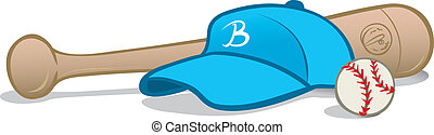 Baseball equipment - Cartoon illustration of baseball...
