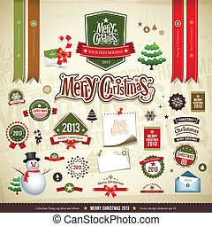 Merry Christmas collections design, message, ribbons, label,...