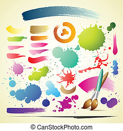 Paint brush colorful watercolor collections background,...