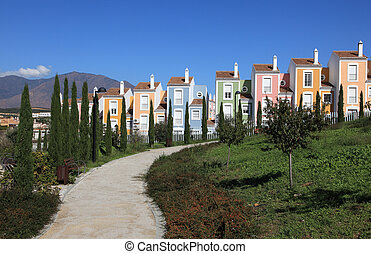 Colorful apartment houses in Andalusia, southern Spain