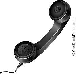 Realistic telephone handset - Realistic isolated black...