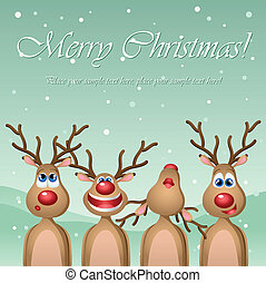 Singing cartoon deers - Christmas card with singing cartoon...
