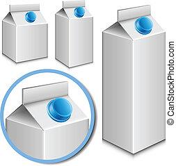Milk carton set - Blank milk carton set with larger detail
