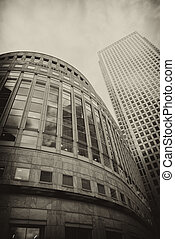 Office Buildings and Skyscrapers in Canary Wharf, financial...