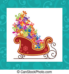 Santa sled with colorful gifts