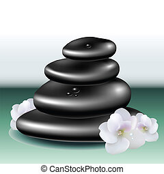 Spa stone set with white flower