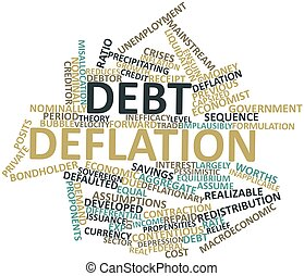 Debt deflation - Abstract word cloud for Debt deflation with...