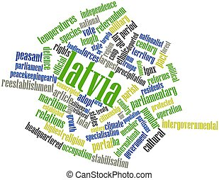 Word cloud for Latvia - Abstract word cloud for Latvia with...