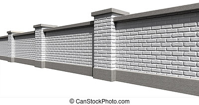 Garden Wall White Perspective - An perspective view of a...