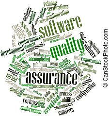 Software quality assurance - Abstract word cloud for...