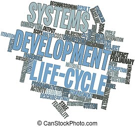 Systems development life-cycle - Abstract word cloud for...
