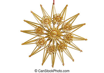Straw star as Christmas decoration