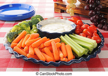 Vegetable platter with ranch dressing