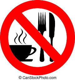 No eat and drink vector sign isolated on white