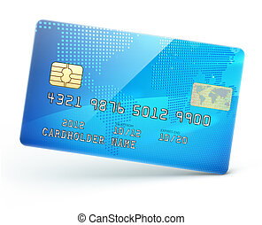 blue credit card - illustration of detailed glossy blue...