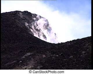 VOLCANO crater smoking detail - Crater of a volcano (Etna)...
