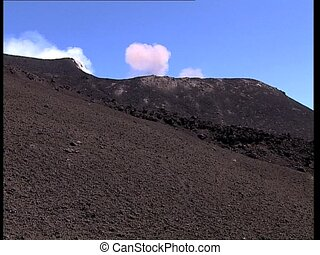 VOLCANO erupting smoke and dust LS - View of a volcano Etna...