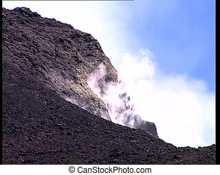 VOLCANO crater erupting smoke det3 - Crater on top of a...