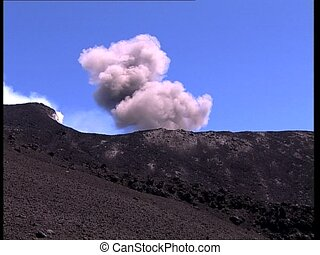 VOLCANO erupting smoke and dust - Crater on top of a volcano...