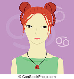 Cancer zodiac sign - vector illustration of Cancer zodiac...