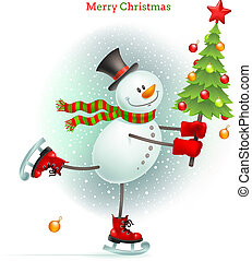 Smiling snowman with Christmas tree in hands skating on ice...
