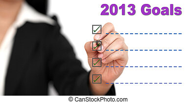 2013 Goal List - Asian business woman writing 2013 Goal List
