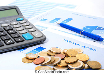 Annual report. - Calculator, coins and annual report.
