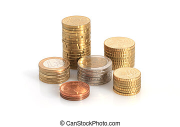 Euro coins. - Euro coins isolated over white background.