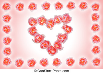 Bright background with heart made of roses