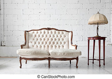 Sofa in room - White genuine leather classical style sofa in...
