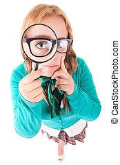 Schoolgirl - Silly nerd schoolgirl, posing over a white...