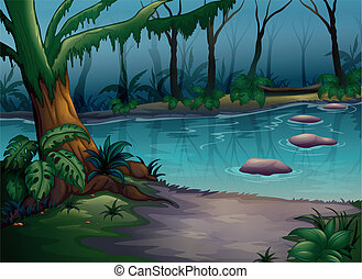 a river - illustration of a river in a beautiful nature