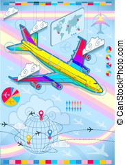 infographic set elements with airplane in raibow - Detailed...
