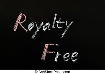 Royalty Free written on a blackboard
