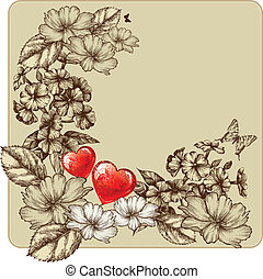 Vintage frame for Valentine's Day with blooming roses and...