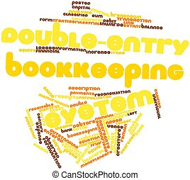 Double-entry bookkeeping system - Abstract word cloud for...