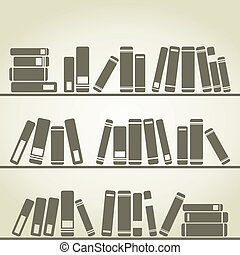 Books stand on a regiment A vector illustration