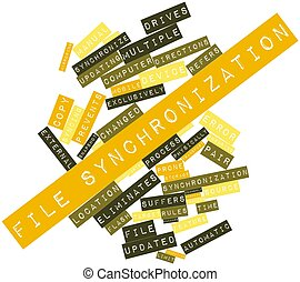 File synchronization - Abstract word cloud for File...