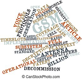 Word cloud for GSM - Abstract word cloud for GSM with...