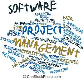 Software project management - Abstract word cloud for...