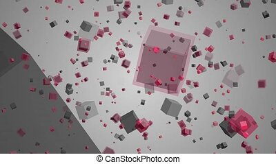 Rotating Cubes - Small cubes continuously rotate around the...