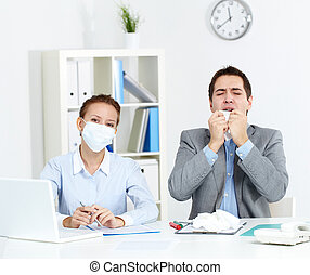 Working during epidemy - Image of sick businessman with...