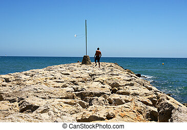 Levee of Sitgess breakwater, Barcelona