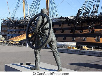 field gun crewman - a statue of a field gun crewman with hms...