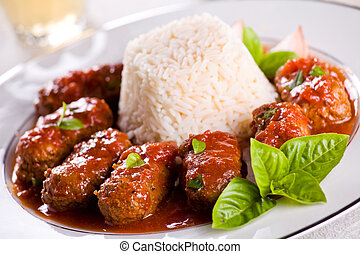 Greek Meatballs With Rice - Photograph of a traditional...
