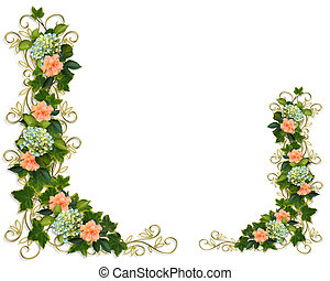 Ivy Floral Borders - Hydrangea and Hibiscus flowers Image...