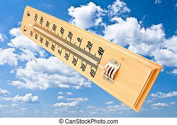de madera, centígrado, Fahrenheit, termómetro,...