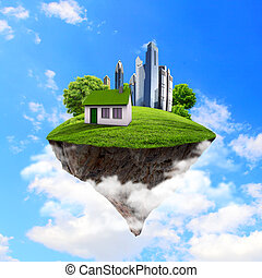 A piece of land in the air with house and tree - Little fine...