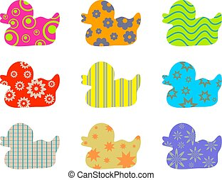patterned ducks - colourful abstract patterned duck...